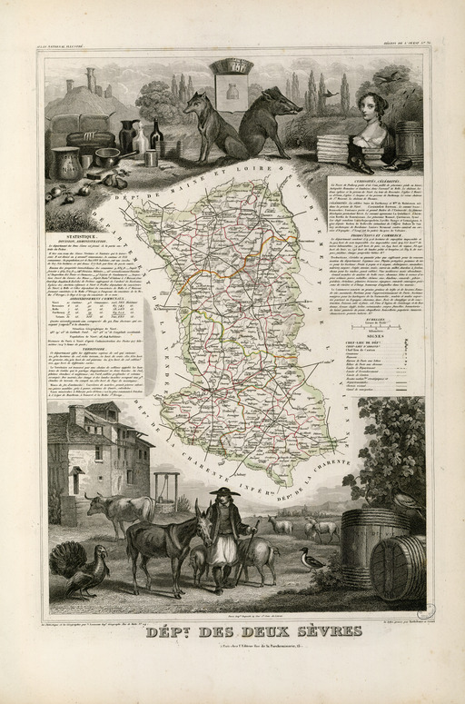 Carte illustrée du département des Deux-Sèvres en 1852