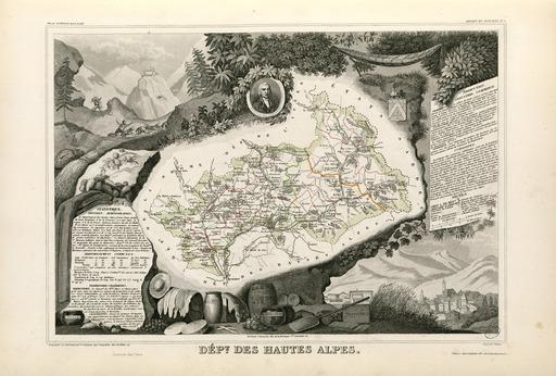 Carte illustrée du département des Hautes-Alpes en 1852