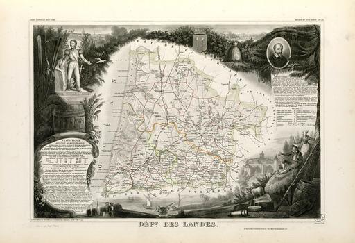 Carte illustrée du département des Landes en 1852