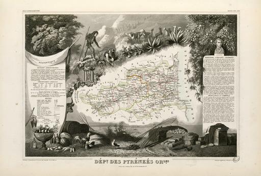 Carte illustrée du département des Pyrénées-Orientales en 1852