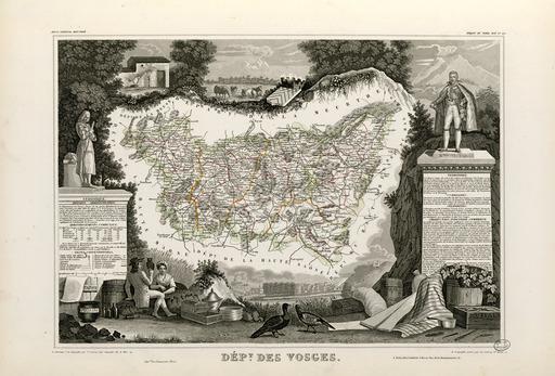 Carte illustrée du département des Vosges en 1852