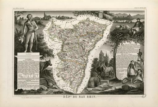 Carte illustrée du département du Bas-Rhin en 1852