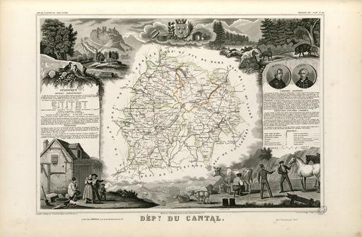 Carte illustrée du département du Cantal en 1852