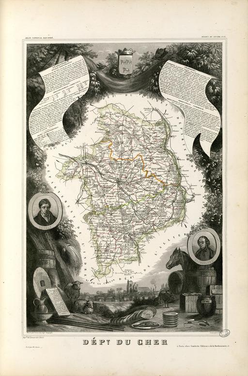 Carte illustrée du département du Cher en 1852