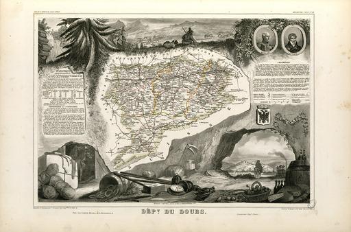 Carte illustrée du département du Doubs en 1852