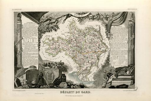 Carte illustrée du département du Gard en 1852
