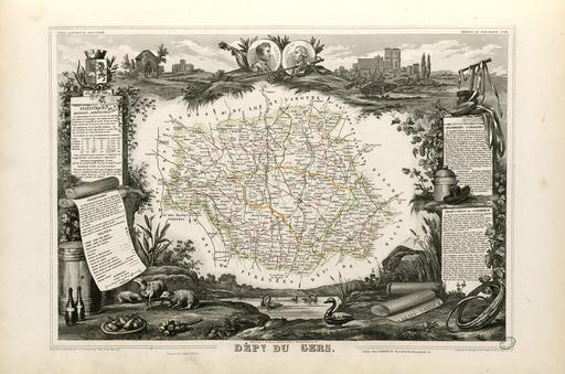 Carte illustrée du département du Gers en 1852