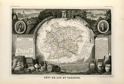 Carte illustrée du département du Lot-et-Garonne en 1852