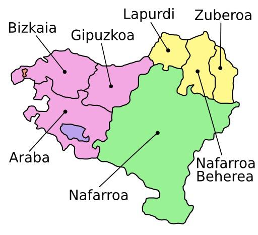 Carte légendée des sept provinces du Pays Basque