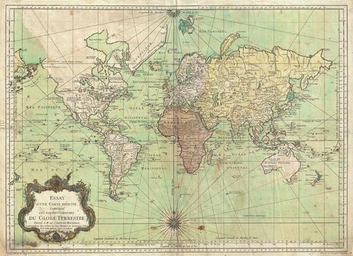Carte marine du monde en 1778