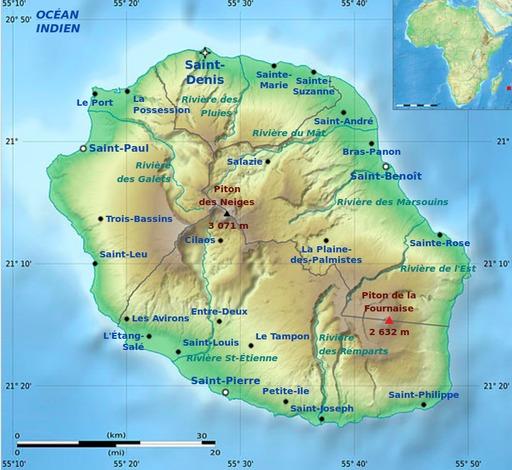 Carte physique du département de La Réunion