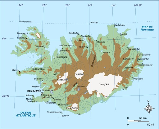 Carte physique du relief de l'Islande