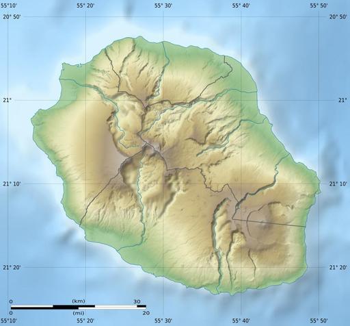 Carte physique vierge de l'île de La Réunion