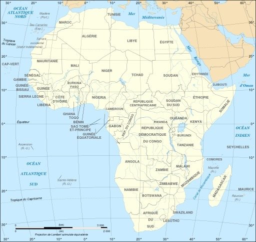 Carte politique de l'Afrique