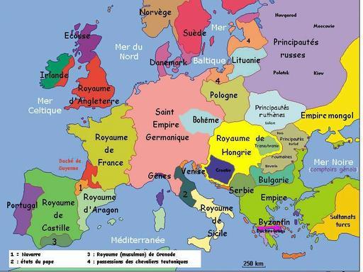 Carte politique de l'Europe au début du 14e siècle