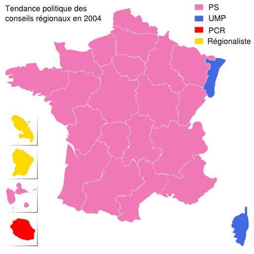 Carte politique de la France en 2004