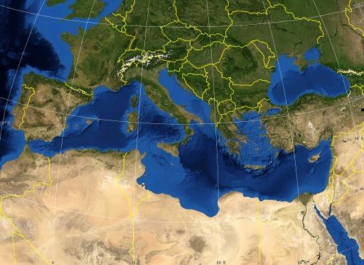 Carte politique de la Mer Méditerranée