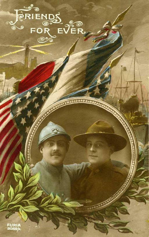 Carte postale fraco-américaine en 1917