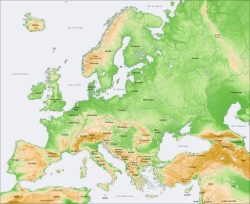 Carte topographique de l'Europe