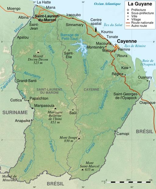 Carte topographique de la Guyane