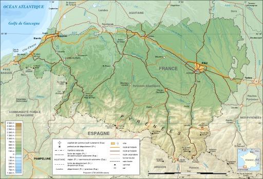 Carte topographique des Pyrénées Atlantiques