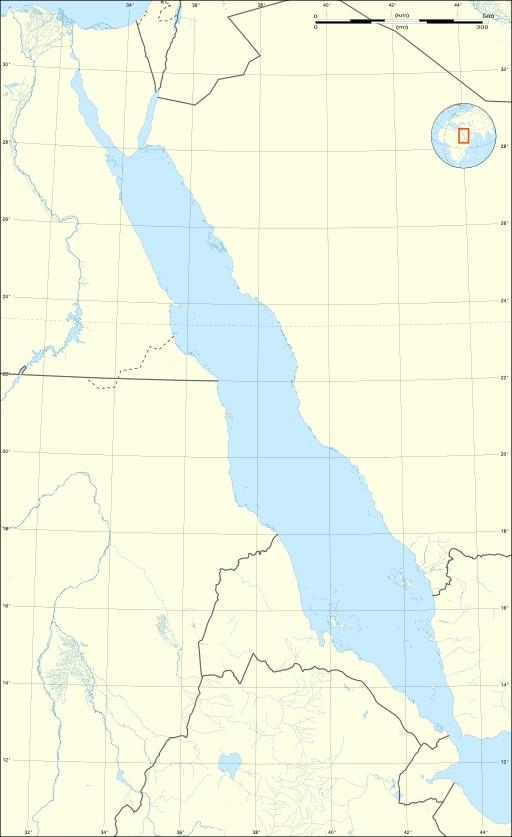 Carte topographique non légendée de la Mer Rouge