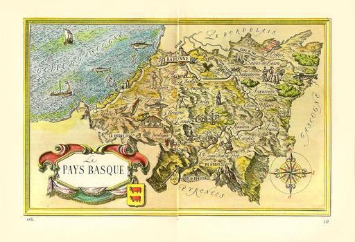 Carte touristique ancienne du Pays Basque