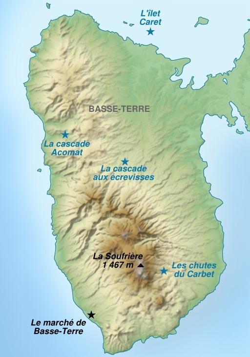 Carte touristique de l'île de Basse-Terre