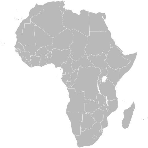 Carte vierge de l'Afrique avec frontières
