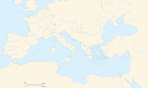 Carte vierge du bassin méditerranéen antique