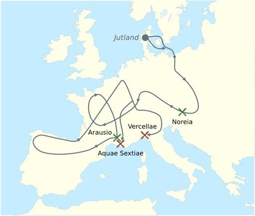 Cartes des invasions des Cimbres et des Teutons