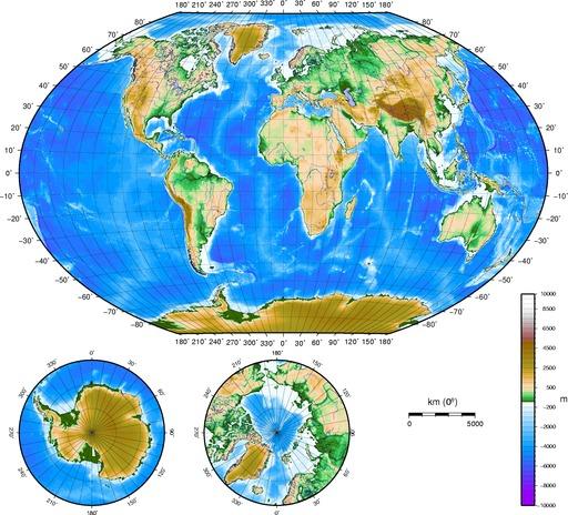 Cartes topographiques du monde