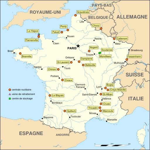 Cartographie des centrales nucléaires en France