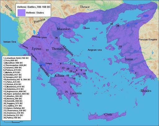Cartographie des guerres helléniques