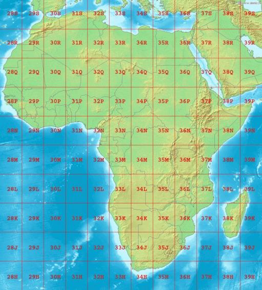 Cartographie des zones UTM en Afrique