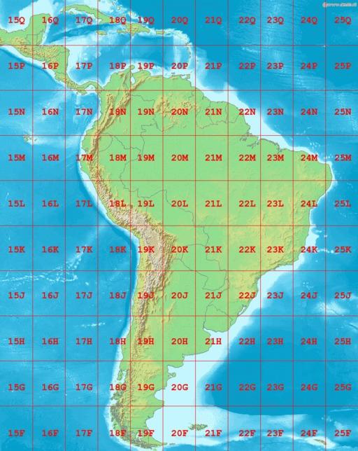 Cartographie des zones UTM en Amérique du Sud