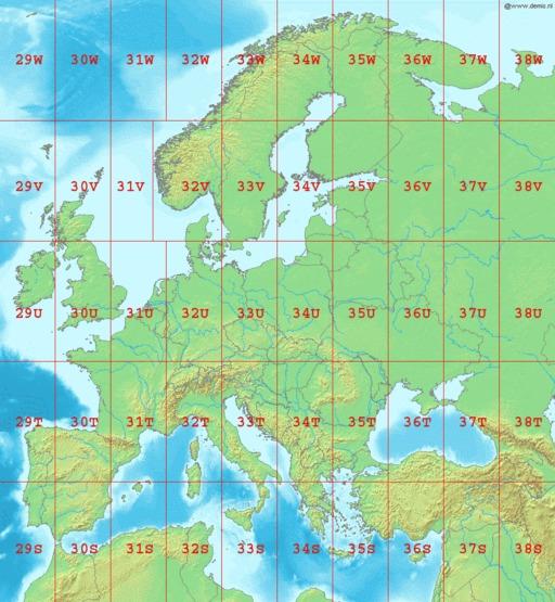 Cartographie des zones UTM en Europe