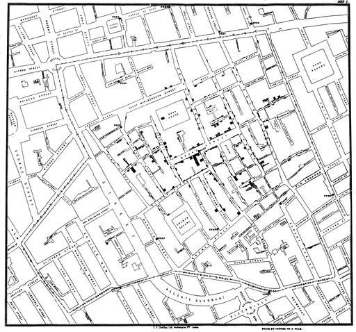 Cartographie du choléra à Londres en 1854