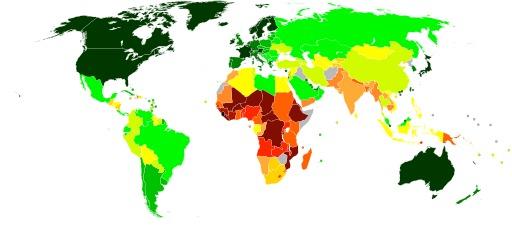 Cartographie mondiale du développement en 2008