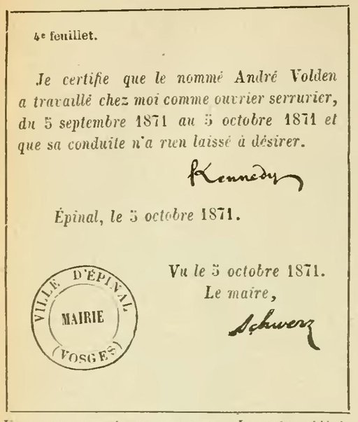 Certificat signé par un maire en 1871