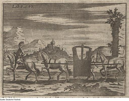 Chaise à porteurs entre deux mules