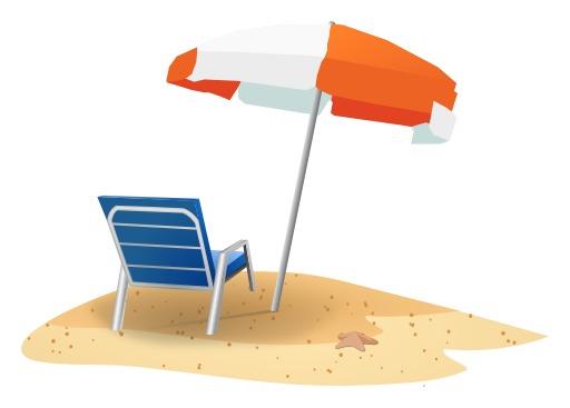 Chaise de plage sous un parasol planté dans le sable