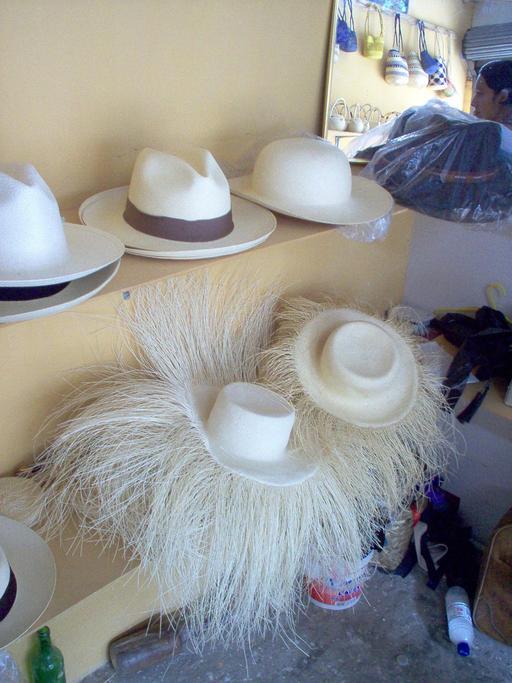 Chapeaux panamas en vente à Montecristi
