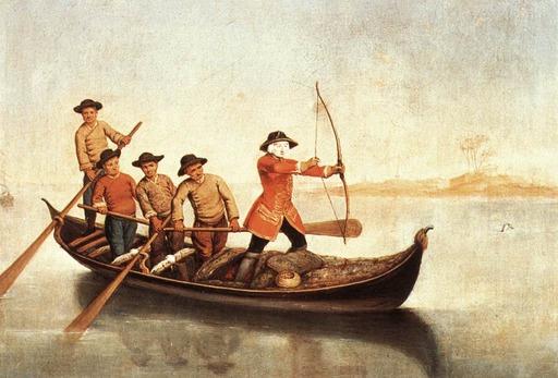 Chasse au canard sur le lagon de Venise