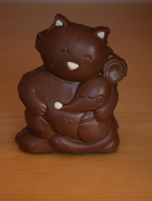 Chat et souris en chocolat