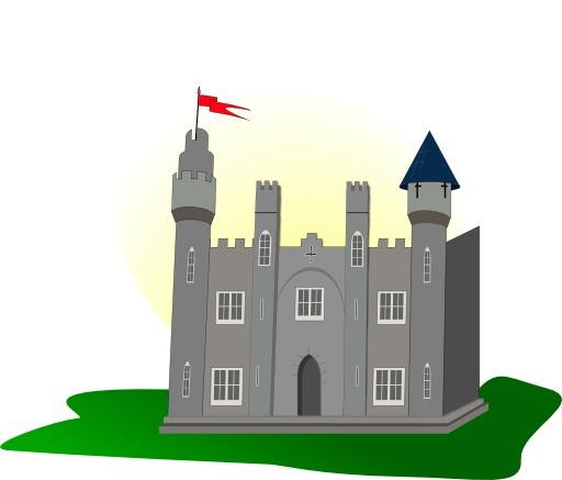 Château fort avec pavillon rouge