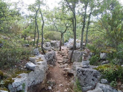 Chemin bordé de murets en Ardèche