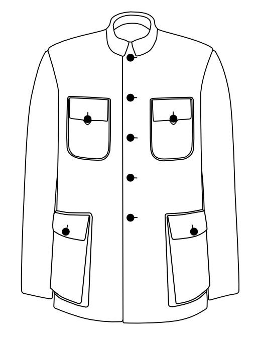Chemise à col Mao et quatre poches