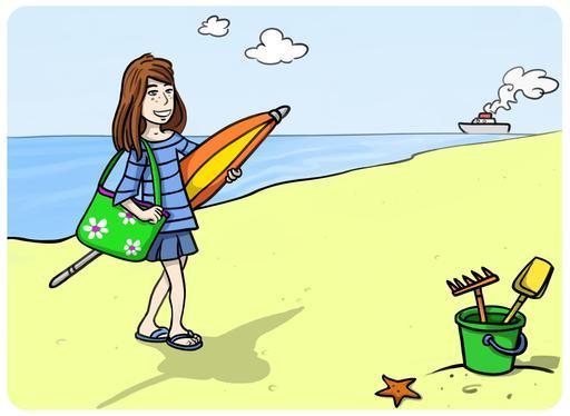 Chloé arrive à la plage