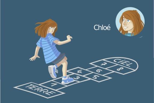 Chloé joue à la marelle